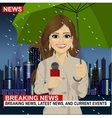 Female journalist working in rainy weather vector image vector image