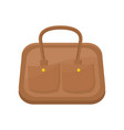 flat icon of brown leather handbag for vector image