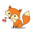 Fox is holding a flower in his mouth