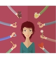 Girl and many hands vector image vector image