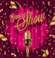 golden signboard and retro microphone on stage vector image vector image