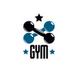 gym and fitness logo template vintage style vector image vector image