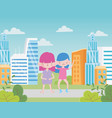 happy childrens day two little girls in city vector image