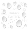 happy easter white background with paper origami vector image vector image
