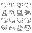 hearts icons set on white background line style vector image