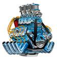 hot rod race car dragster engine cartoon vector image vector image