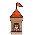 isolated castle tower with pennants design vector image