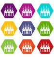 kingdom palace icon set color hexahedron vector image vector image
