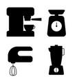 kitchen appliances icon set coffee machine mixer vector image