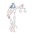 lady justice holding sword and balance neon sign vector image vector image