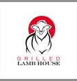 lamb logo simple ribs barbecue bbq vector image vector image