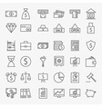 Line Banking Money and Finance Icons Big Set vector image vector image