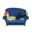 Man relaxing on couch and browsing social media or vector image