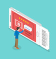 mobile cinema tickets app isometric flat vector image vector image