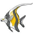 moorish idol fish character vector image vector image