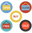 open close icons set flat design vector image vector image