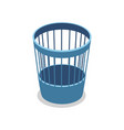 plastic blue trash basket isometric 3d icon vector image