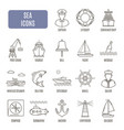 sea icons set of pictogram vector image