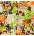 seamless pattern with garden tools and items vector image