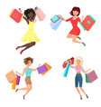 set of happy and cheerful pretty woman vector image