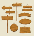set of wooden signboards and direction arrows vector image