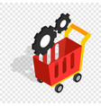 settings basket in online store isometric icon vector image vector image