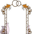 sketch forged arch decorated with cupids
