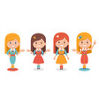 smiling cute girls in different clothes on white vector image vector image