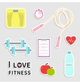 Timer whater dumbbell apple jumping rope scale vector image vector image
