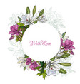 white lilies and begonia round frame for wedding vector image vector image
