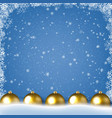 winter border with snow and blue background vector image