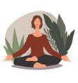 woman meditating and practicing yoga asanas poses vector image vector image