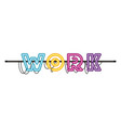 work label in neon light isolated icon vector image