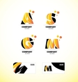 Yellow letter alphabet icon logo set vector image vector image