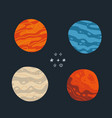 abstract spaceplanets cosmic flat set with vector image