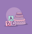 baby shower card with cake and blocks vector image