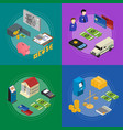 bank banner card set isometric view vector image