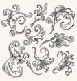 baroque swirl design element set vector image