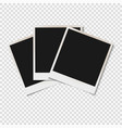 blank old photo frames isolated on transparent vector image