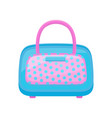 blue-pink handbag in polka dots flat vector image