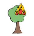 burning tree cartoon vector image vector image