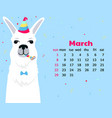 calendar for march 2020 week start on sunday cute vector image vector image