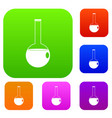 chemical beaker set color collection vector image vector image