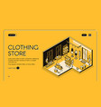 clothing store isometric landing page empty shop vector image