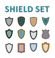 colorful shields set vector image