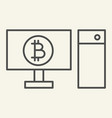 computer and cryptocurrency thin line icon vector image vector image