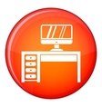 Computer desk workplace icon flat style vector image