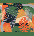 contemporary exotic tropical palm leaves seamless vector image