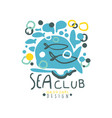 creative hand drawn sea club logo template design vector image vector image