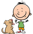 cute boy with dog cartoon vector image vector image